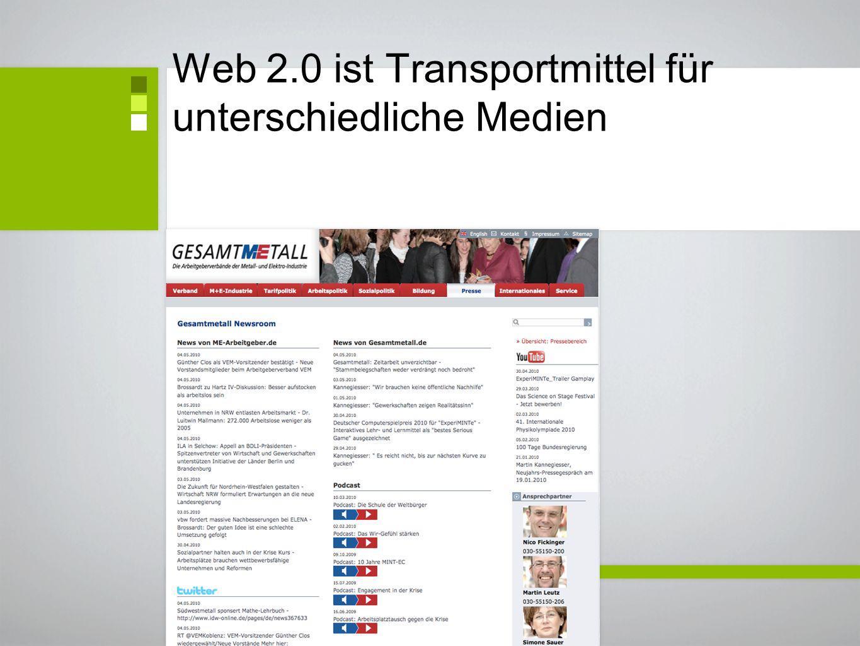 Web 2.0 ist Transportmittel für unterschiedliche Medien