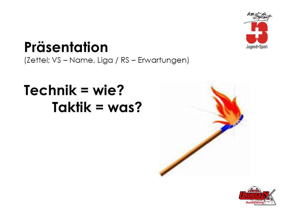 Präsentation (Zettel; VS – Name, Liga / RS – Erwartungen) Technik = wie Taktik = was