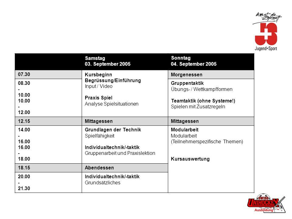 Samstag 03. September 2005 Sonntag 04. September 2005 07.30Kursbeginn Begrüssung/Einführung Input / Video Praxis Spiel Analyse Spielsituationen Morgen
