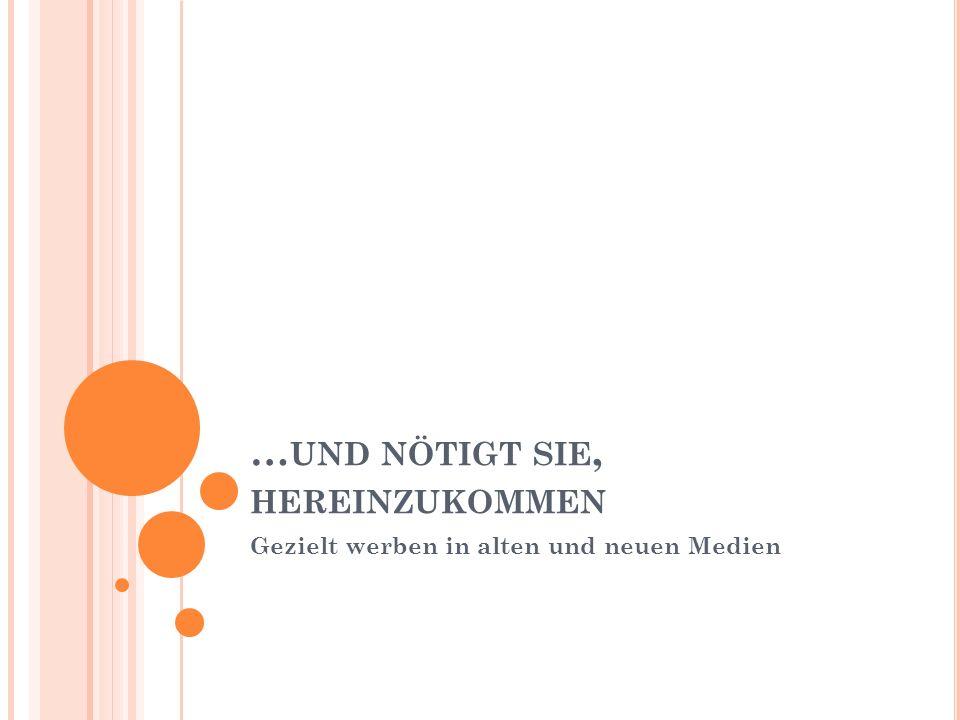 O NLINE -K ALENDER : B EISPIEL S CHWEINFURT www.evangelische-termine.de Automatischer Import in allen kirchlichen Websites Automatischer Import in den Innenstadt- Gemeindebrief www.frankentipps.de Automatischer Import in Facebook www.schweinfurt.de www.nuus.de (Pressemitteilung) www.nuus.de www.groschenheft.de (Pressemitteilung) www.groschenheft.de www.revista.de (Mail an termine@revista.de) www.revista.de 14.02.2011 Werbung in alten und neuen Medien