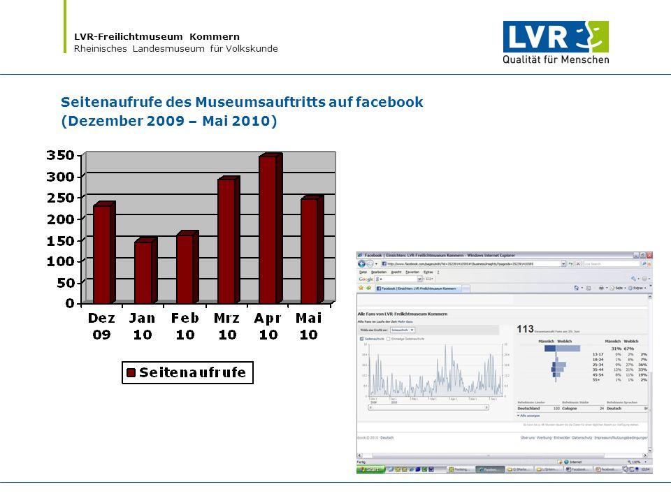 LVR-Freilichtmuseum Kommern Rheinisches Landesmuseum für Volkskunde Seitenaufrufe des Museumsauftritts auf facebook (Dezember 2009 – Mai 2010)