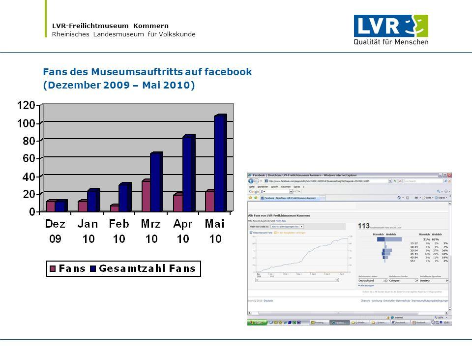 LVR-Freilichtmuseum Kommern Rheinisches Landesmuseum für Volkskunde Fans des Museumsauftritts auf facebook (Dezember 2009 – Mai 2010)
