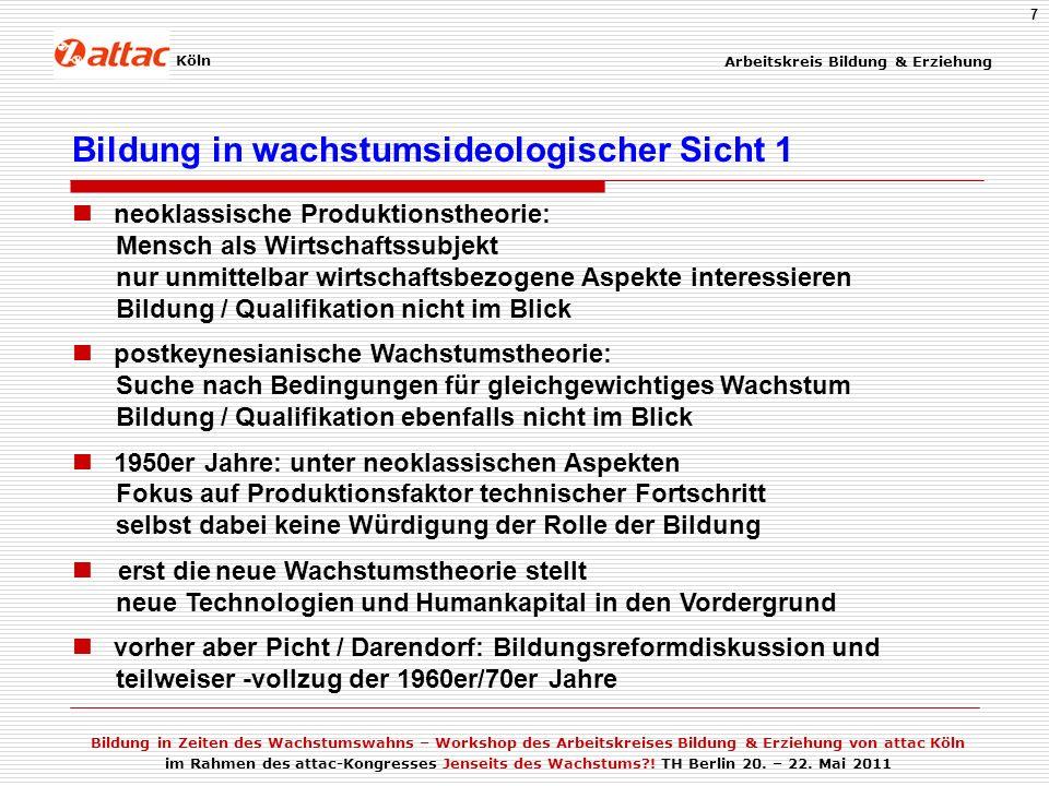 Arbeitskreis Bildung & Erziehung Bildung in Zeiten des Wachstumswahns – Workshop des Arbeitskreises Bildung & Erziehung von attac Köln im Rahmen des attac-Kongresses Jenseits des Wachstums?.