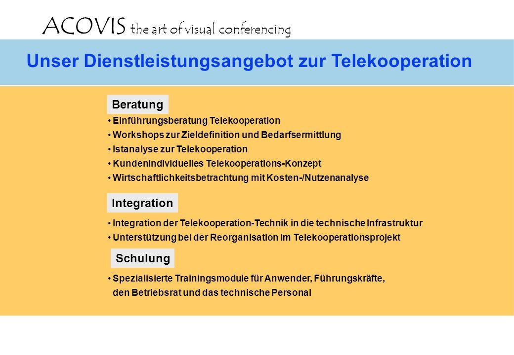 ACOVIS the art of visual conferencing Unser Dienstleistungsangebot zur Telekooperation Einführungsberatung Telekooperation Workshops zur Zieldefinition und Bedarfsermittlung Istanalyse zur Telekooperation Kundenindividuelles Telekooperations-Konzept Wirtschaftlichkeitsbetrachtung mit Kosten-/Nutzenanalyse Beratung Integration Schulung Integration der Telekooperation-Technik in die technische Infrastruktur Unterstützung bei der Reorganisation im Telekooperationsprojekt Spezialisierte Trainingsmodule für Anwender, Führungskräfte, den Betriebsrat und das technische Personal