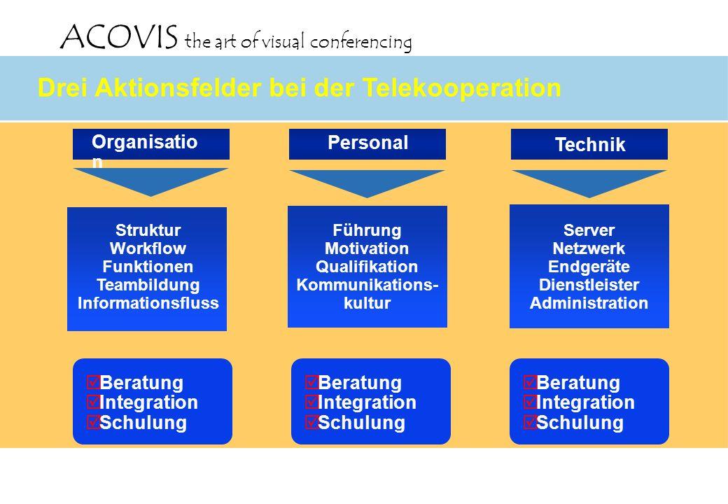 ACOVIS the art of visual conferencing Organisatio n Struktur Workflow Funktionen Teambildung Informationsfluss Technik Server Netzwerk Endgeräte Diens