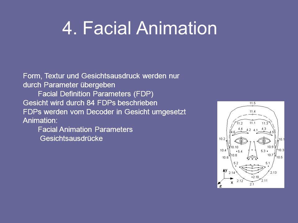 Form, Textur und Gesichtsausdruck werden nur durch Parameter übergeben Facial Definition Parameters (FDP) Gesicht wird durch 84 FDPs beschrieben FDPs werden vom Decoder in Gesicht umgesetzt Animation: Facial Animation Parameters Gesichtsausdrücke 4.