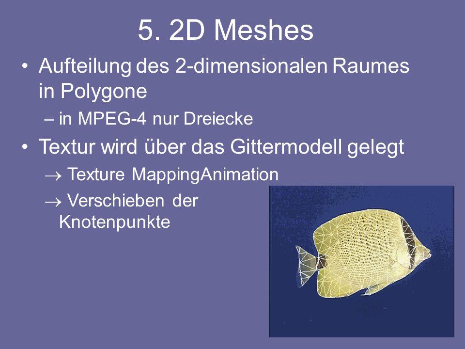 Aufteilung des 2-dimensionalen Raumes in Polygone –in MPEG-4 nur Dreiecke Textur wird über das Gittermodell gelegt Texture MappingAnimation Verschieben der Knotenpunkte 5.