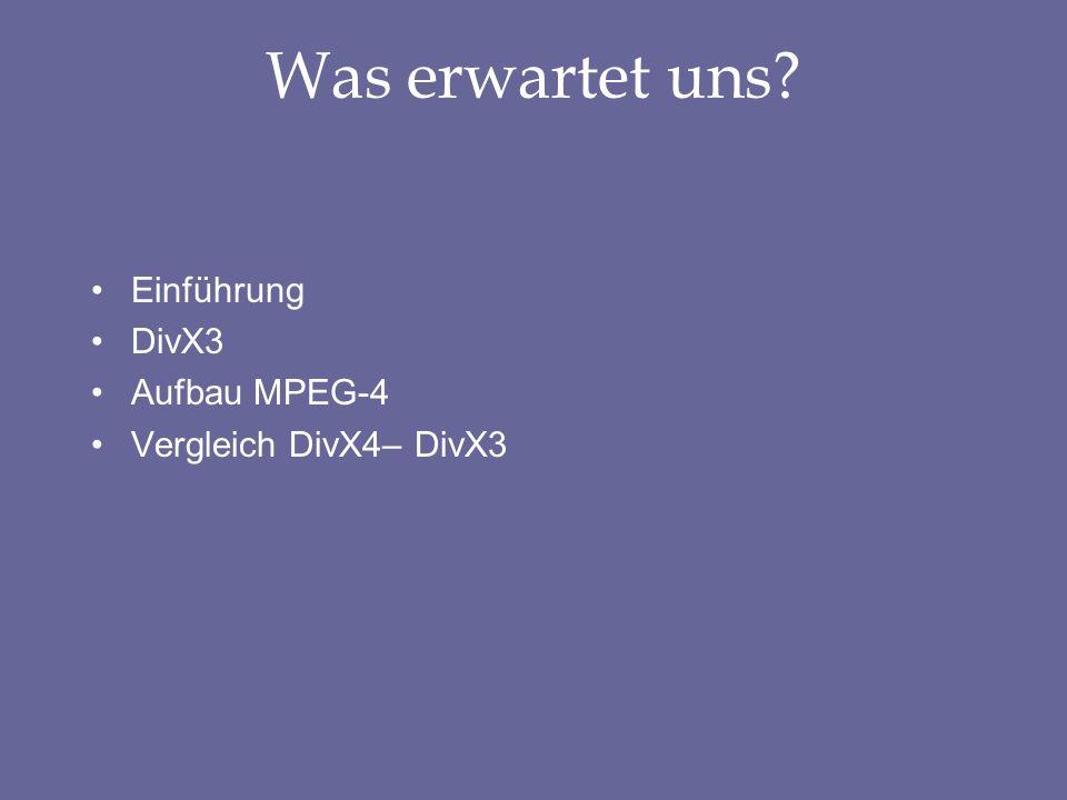 Was erwartet uns? Einführung DivX3 Aufbau MPEG-4 Vergleich DivX4– DivX3