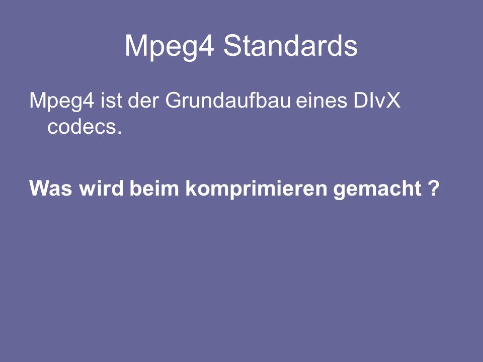 Mpeg4 Standards Mpeg4 ist der Grundaufbau eines DIvX codecs. Was wird beim komprimieren gemacht ?