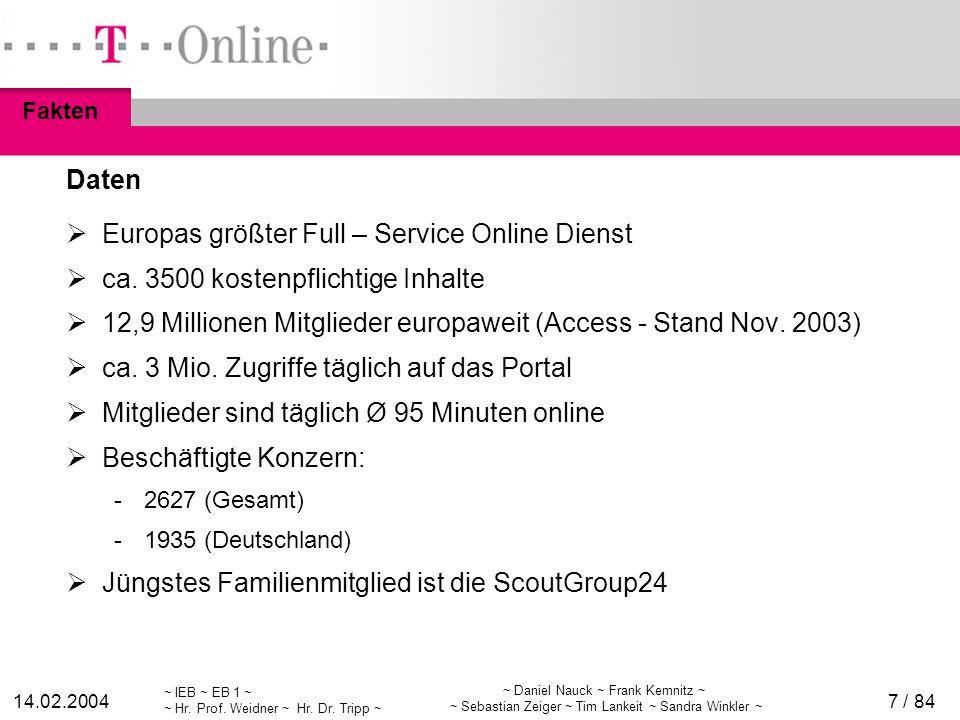 ~ IEB ~ EB 1 ~ ~ Hr. Prof. Weidner ~ Hr. Dr. Tripp ~ 14.02.2004 ~ Daniel Nauck ~ Frank Kemnitz ~ ~ Sebastian Zeiger ~ Tim Lankeit ~ Sandra Winkler ~ 7