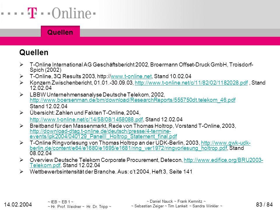 ~ IEB ~ EB 1 ~ ~ Hr. Prof. Weidner ~ Hr. Dr. Tripp ~ 14.02.2004 ~ Daniel Nauck ~ Frank Kemnitz ~ ~ Sebastian Zeiger ~ Tim Lankeit ~ Sandra Winkler ~ 8