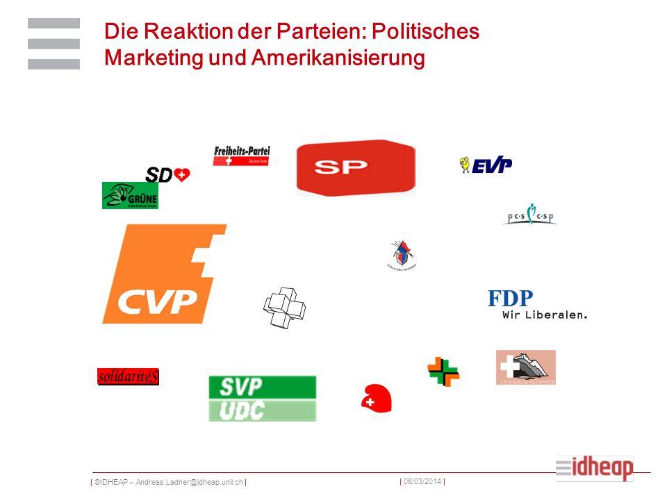 | ©IDHEAP – Andreas.Ladner@idheap.unil.ch | | 06/03/2014 | Die Reaktion der Parteien: Politisches Marketing und Amerikanisierung