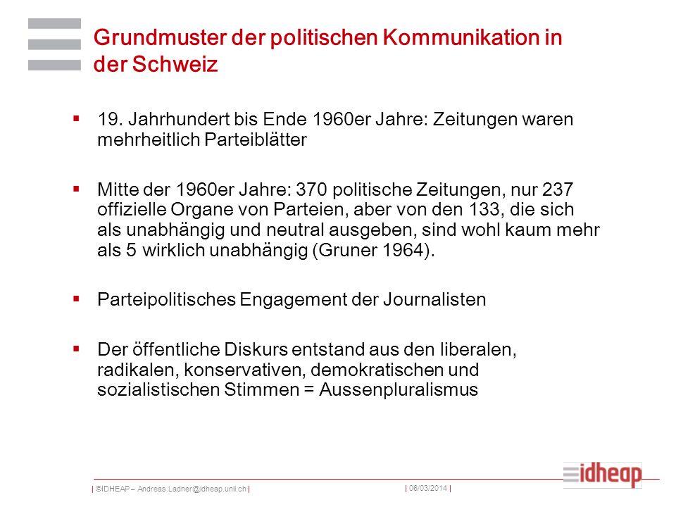 | ©IDHEAP – Andreas.Ladner@idheap.unil.ch | | 06/03/2014 | Grundmuster der politischen Kommunikation in der Schweiz 19. Jahrhundert bis Ende 1960er Ja