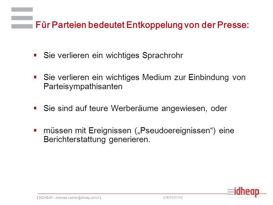 | ©IDHEAP – Andreas.Ladner@idheap.unil.ch | | 06/03/2014 | Für Parteien bedeutet Entkoppelung von der Presse: Sie verlieren ein wichtiges Sprachrohr S