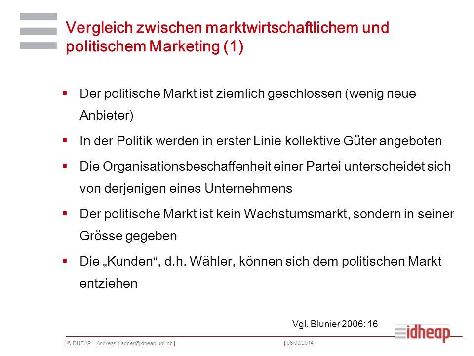 | ©IDHEAP – Andreas.Ladner@idheap.unil.ch | | 06/03/2014 | Vergleich zwischen marktwirtschaftlichem und politischem Marketing (1) Der politische Markt ist ziemlich geschlossen (wenig neue Anbieter) In der Politik werden in erster Linie kollektive Güter angeboten Die Organisationsbeschaffenheit einer Partei unterscheidet sich von derjenigen eines Unternehmens Der politische Markt ist kein Wachstumsmarkt, sondern in seiner Grösse gegeben Die Kunden, d.h.