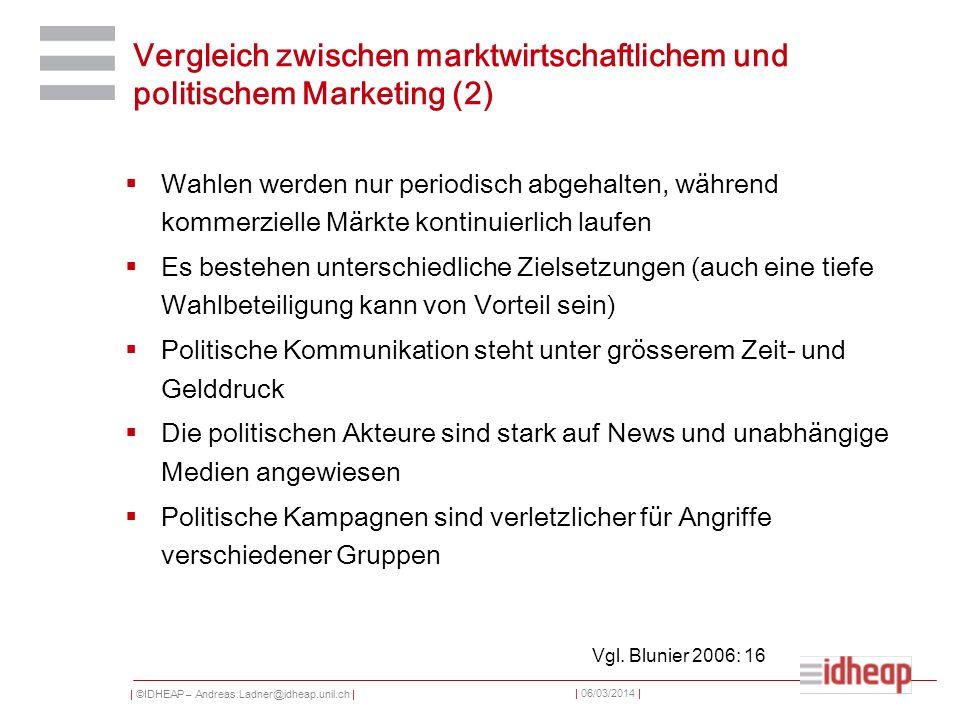 | ©IDHEAP – Andreas.Ladner@idheap.unil.ch | | 06/03/2014 | Vergleich zwischen marktwirtschaftlichem und politischem Marketing (2) Wahlen werden nur pe