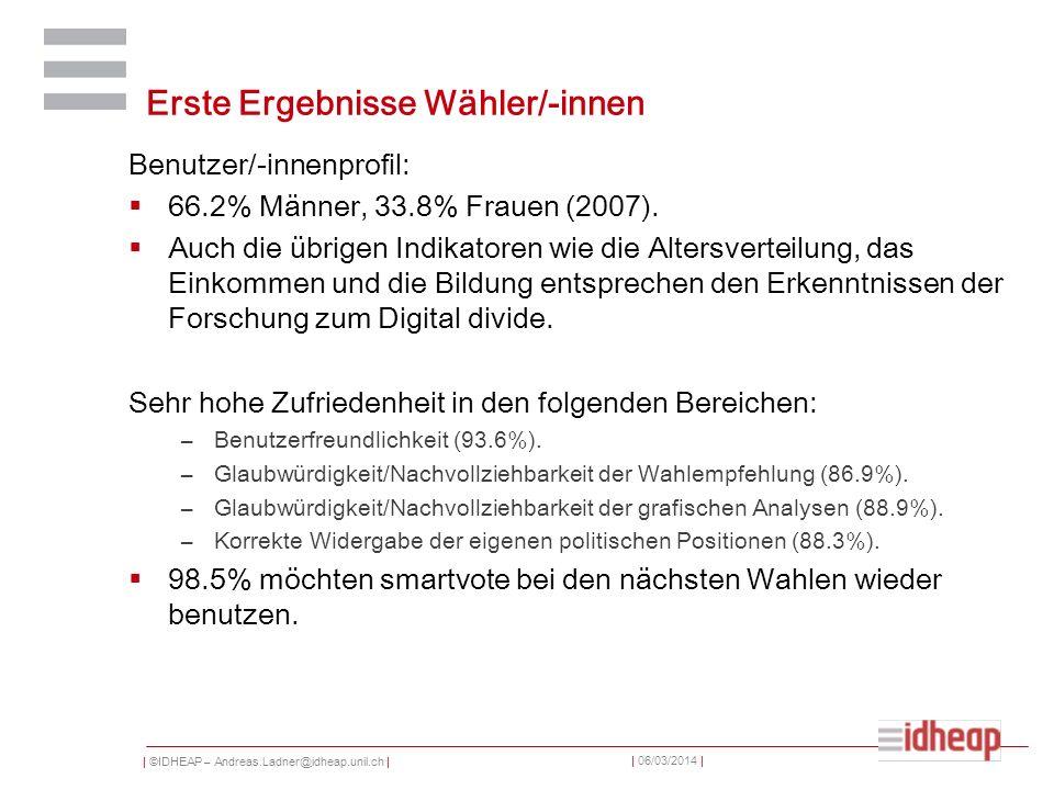 | ©IDHEAP – Andreas.Ladner@idheap.unil.ch | | 06/03/2014 | Erste Ergebnisse Wähler/-innen Benutzer/-innenprofil: 66.2% Männer, 33.8% Frauen (2007). Au