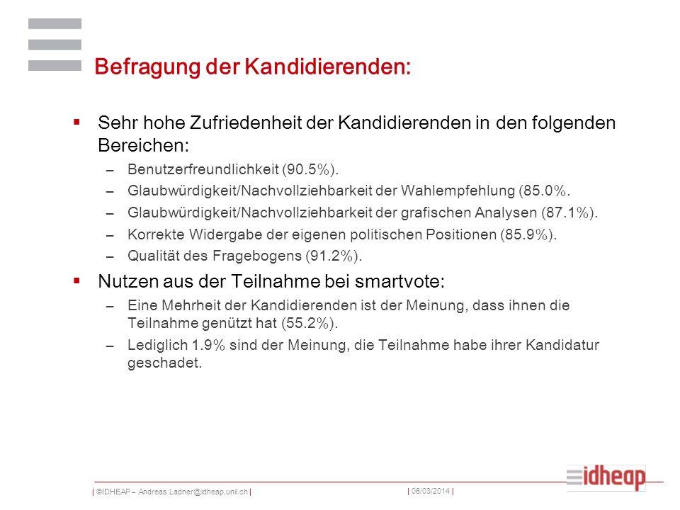 | ©IDHEAP – Andreas.Ladner@idheap.unil.ch | | 06/03/2014 | Befragung der Kandidierenden: Sehr hohe Zufriedenheit der Kandidierenden in den folgenden Bereichen: –Benutzerfreundlichkeit (90.5%).