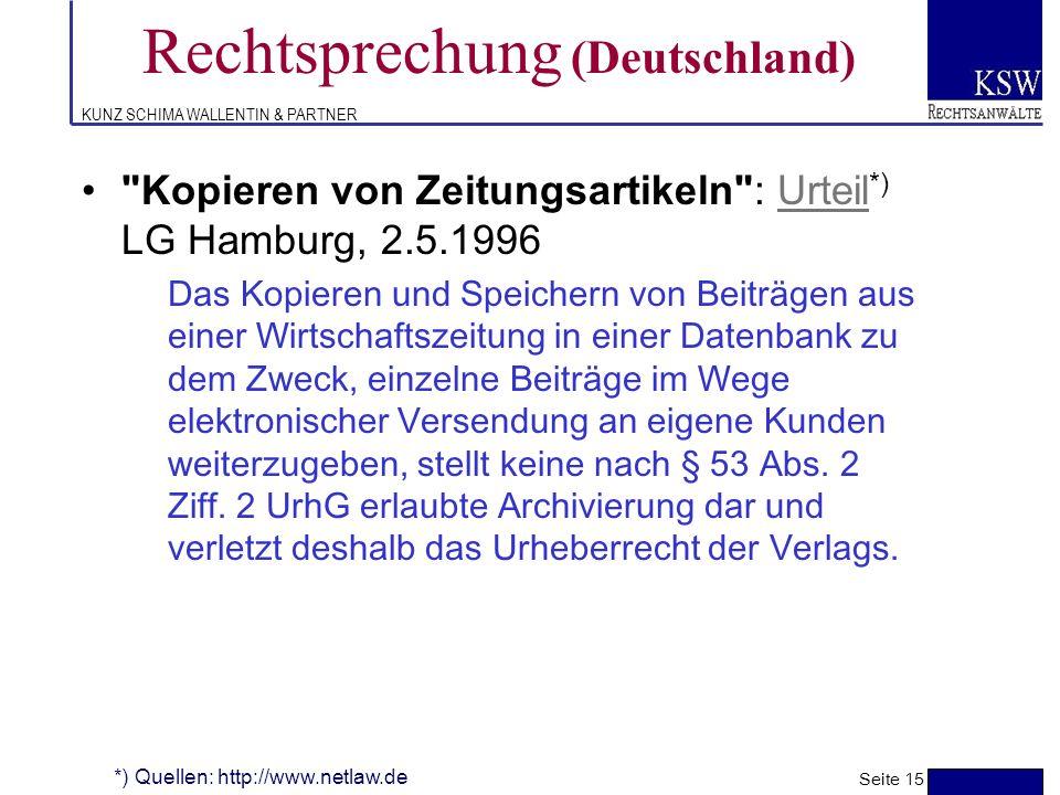 KUNZ SCHIMA WALLENTIN & PARTNER Rechtsprechung Deutschland (Beispiele) Seite 14