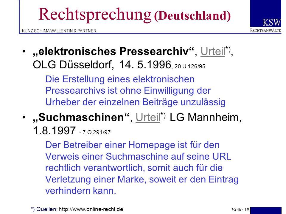 KUNZ SCHIMA WALLENTIN & PARTNER Rechtsprechung (Deutschland)