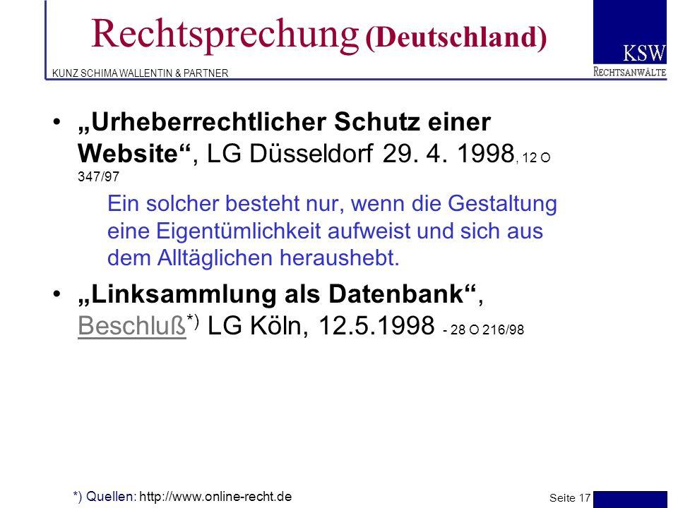 KUNZ SCHIMA WALLENTIN & PARTNER Rechtsprechung (Deutschland) elektronisches Pressearchiv, Urteil *), OLG Düsseldorf, 14. 5.1996, 20 U 126/95Urteil Die