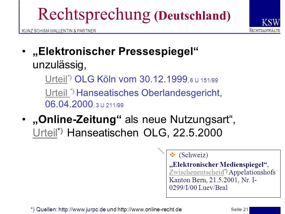 KUNZ SCHIMA WALLENTIN & PARTNER Rechtsprechung (Deutschland) Frames II, Urteil *) OLG Düsseldorf, 29.6.1999, 20 U 85/98, CR 2000, 184Urteil Einzelne W