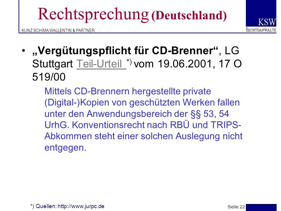 KUNZ SCHIMA WALLENTIN & PARTNER Rechtsprechung (Deutschland) Elektronischer Pressespiegel unzulässig, Urteil Urteil *) OLG Köln vom 30.12.1999, 6 U 15