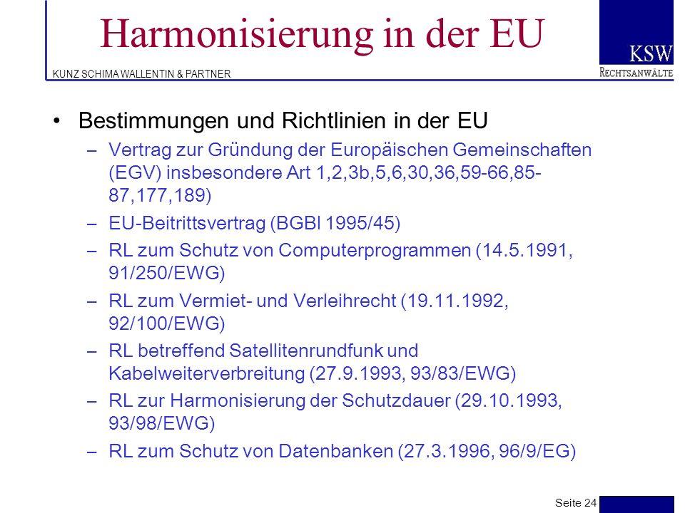 KUNZ SCHIMA WALLENTIN & PARTNER Europarecht Richtlinien - Überblick Seite 23