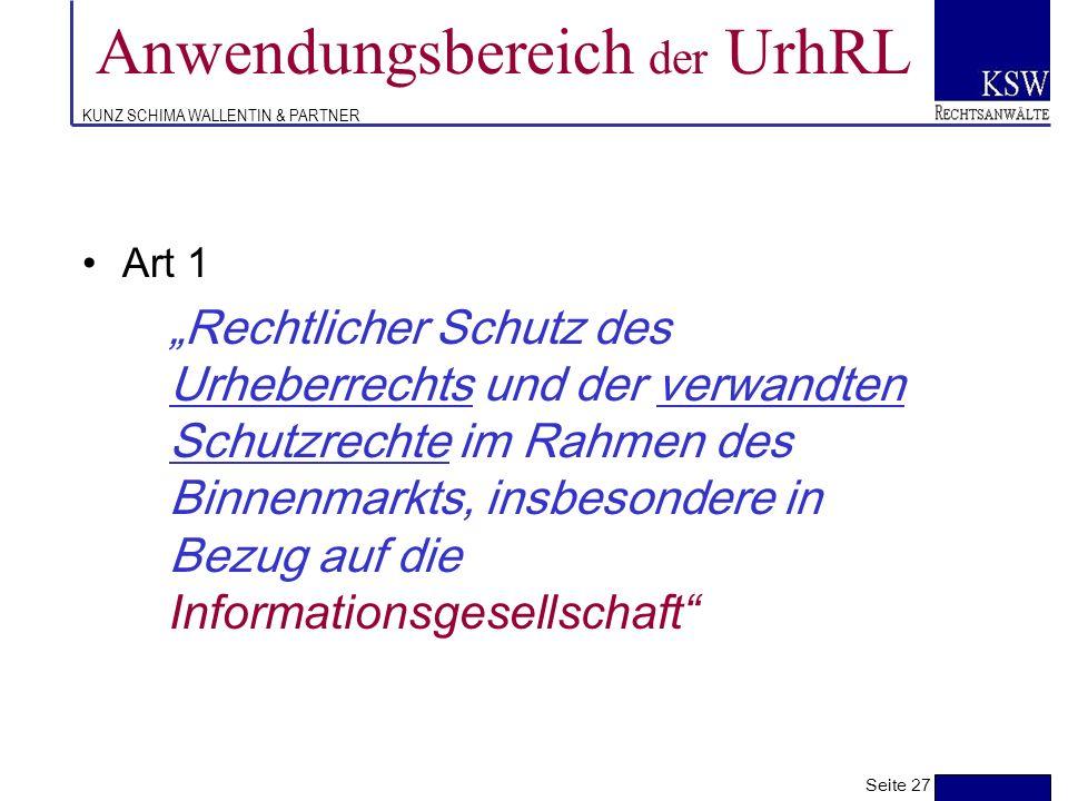 KUNZ SCHIMA WALLENTIN & PARTNER politische & technische Rahmenbedingungen -Zeitgemäße Weiterentwicklung des Urheberrechts um den berechtigten Schutzbe