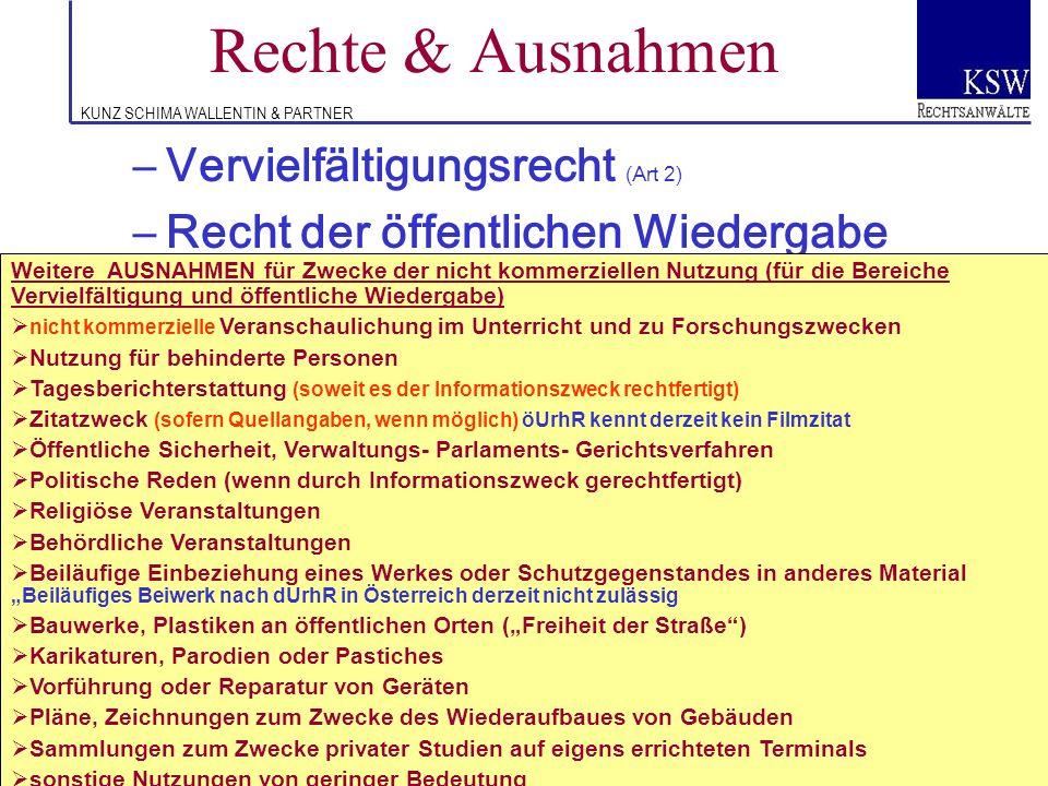 KUNZ SCHIMA WALLENTIN & PARTNER Rechte & Ausnahmen –Vervielfältigungsrecht (Art 2) –Recht der öffentlichen Wiedergabe (Art 3) von Werken und Recht der