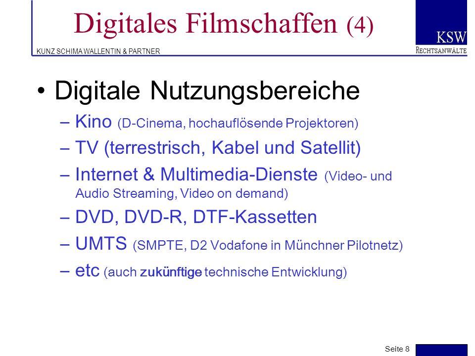 KUNZ SCHIMA WALLENTIN & PARTNER Digitales Filmschaffen (3) Distributionslogistik –Kompression (40 Mbps=45 GB für 2-std Film) –Verschlüsselung (Wassena