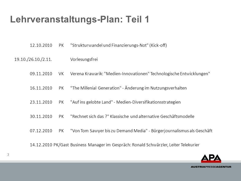 Lehrveranstaltungs-Plan: Teil 1 3 12.10.2010PK