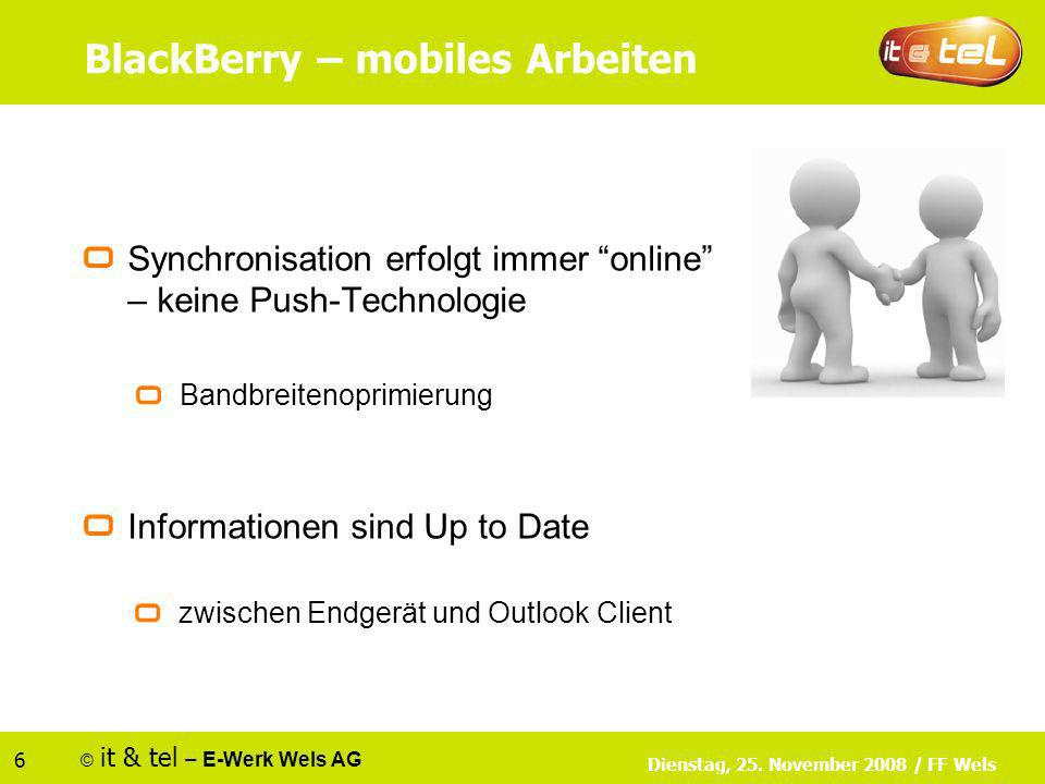 © it & tel – E-Werk Wels AG 6 Dienstag, 25. November 2008 / FF Wels BlackBerry – mobiles Arbeiten Synchronisation erfolgt immer online – keine Push-Te