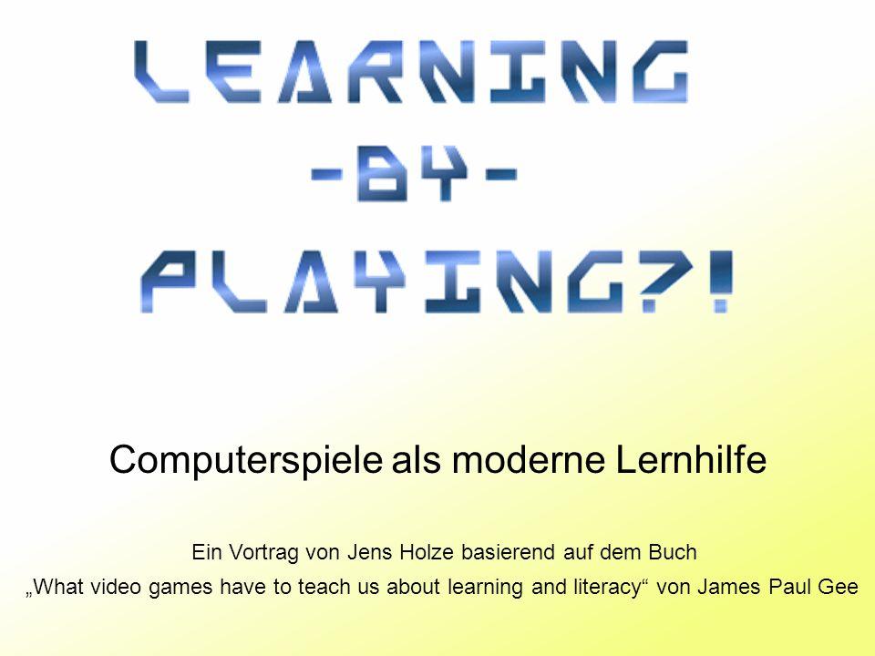 Learning-by-playing - Proseminar Educational Gaming - Jens Holze32 Kulturelle Modelle Inhalt eines Spieles immer vom jeweiligen Kulturkreis abhängig Kann dem Spieler neue Einblicke in andere Kulturen ermöglichen Entscheidender Lernfaktor projektive Id.