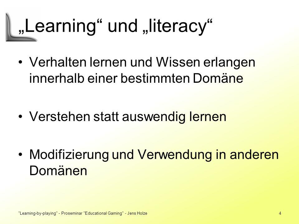 Learning-by-playing - Proseminar Educational Gaming - Jens Holze35 Sozialer Kontext