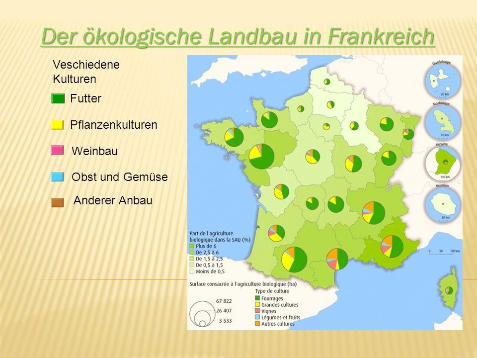 Der ökologische Landbau in Frankreich Veschiedene Kulturen Futter Pflanzenkulturen Weinbau Obst und Gemüse Anderer Anbau