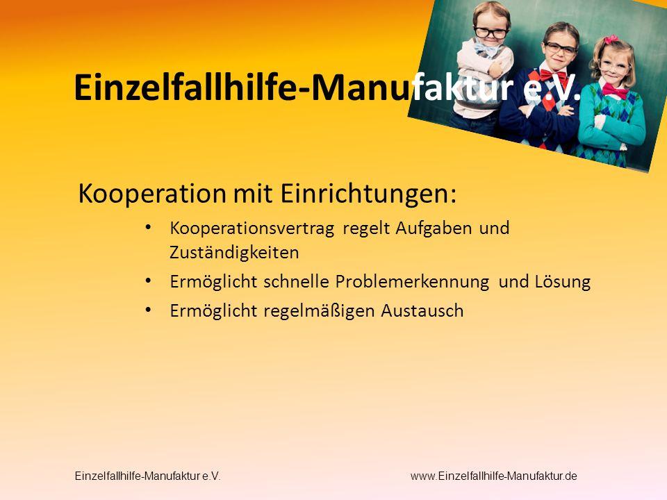 Kooperation mit Einrichtungen: Kooperationsvertrag regelt Aufgaben und Zuständigkeiten Ermöglicht schnelle Problemerkennung und Lösung Ermöglicht regelmäßigen Austausch Einzelfallhilfe-Manufaktur e.V.