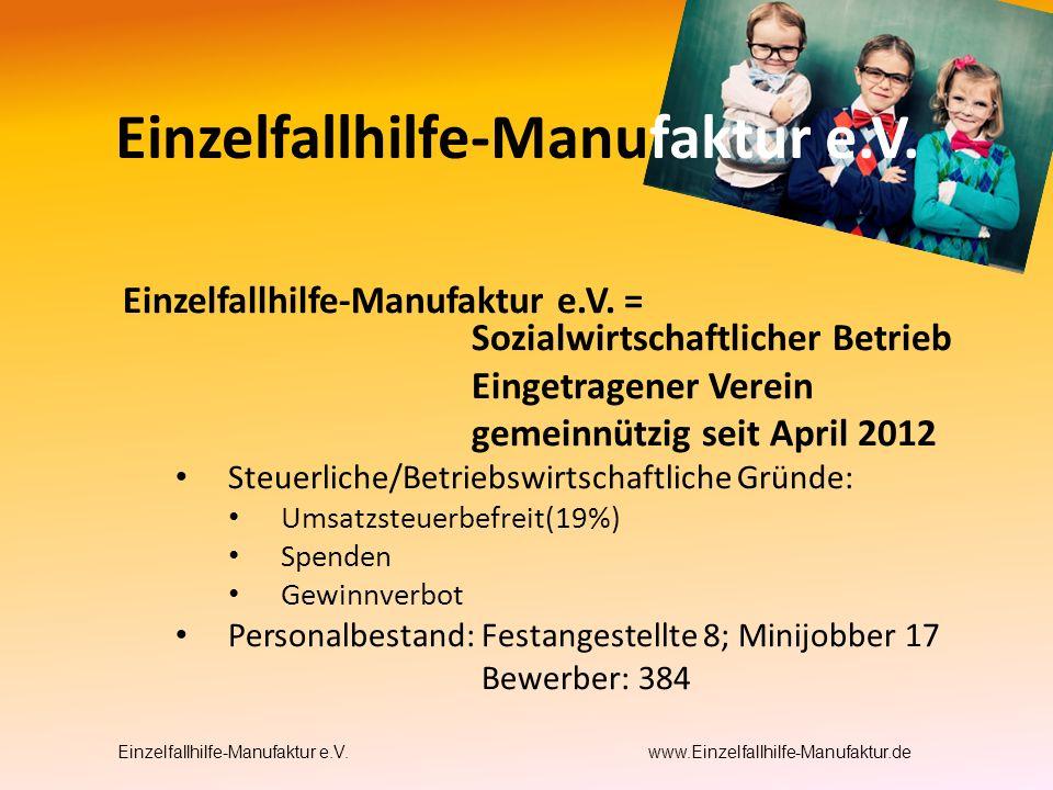 Einzelfallhilfe-Manufaktur e.V. = Sozialwirtschaftlicher Betrieb Eingetragener Verein gemeinnützig seit April 2012 Steuerliche/Betriebswirtschaftliche