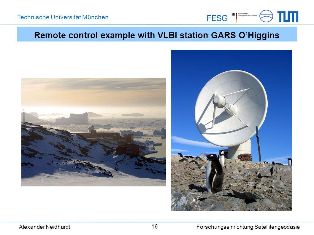 Technische Universität München Alexander Neidhardt Forschungseinrichtung Satellitengeodäsie 16 Remote control example with VLBI station GARS OHiggins