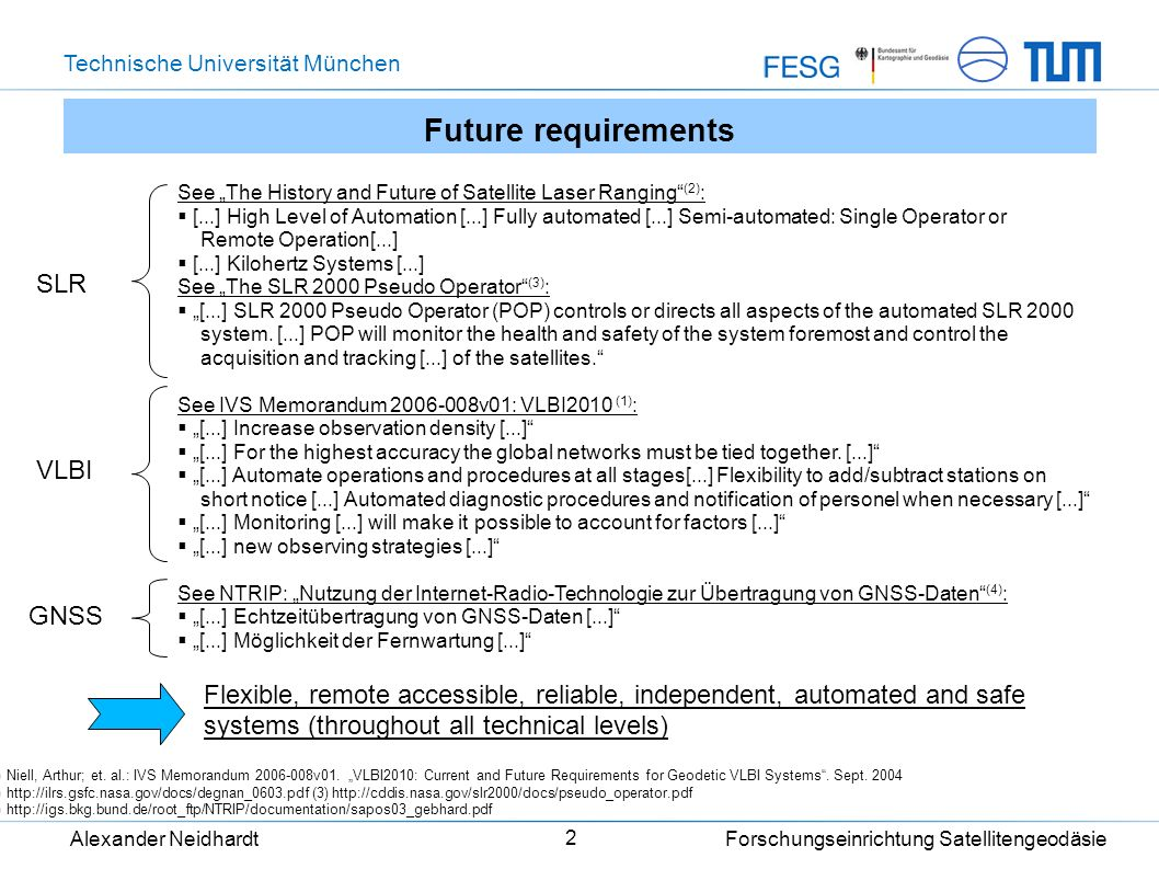 Technische Universität München Alexander Neidhardt Forschungseinrichtung Satellitengeodäsie 2 Future requirements See The History and Future of Satell
