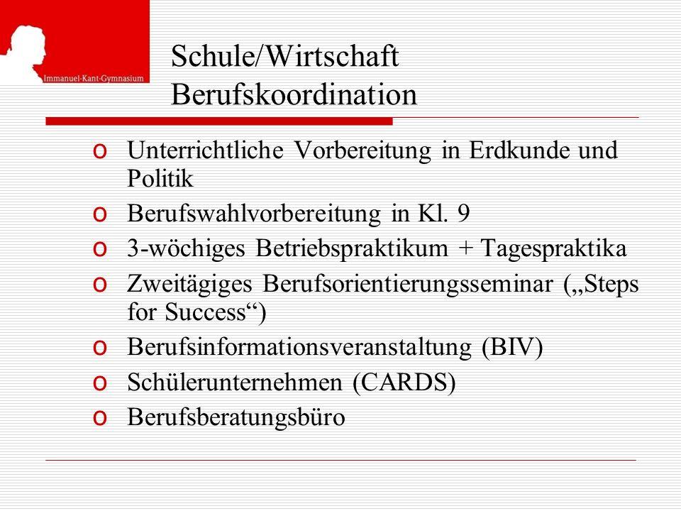 Schule/Wirtschaft Berufskoordination o Unterrichtliche Vorbereitung in Erdkunde und Politik o Berufswahlvorbereitung in Kl. 9 o 3-wöchiges Betriebspra
