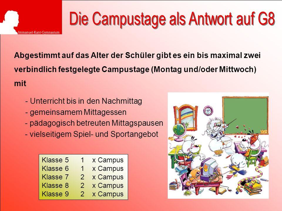 Abgestimmt auf das Alter der Schüler gibt es ein bis maximal zwei verbindlich festgelegte Campustage (Montag und/oder Mittwoch) mit Klasse 5 1 x Campu