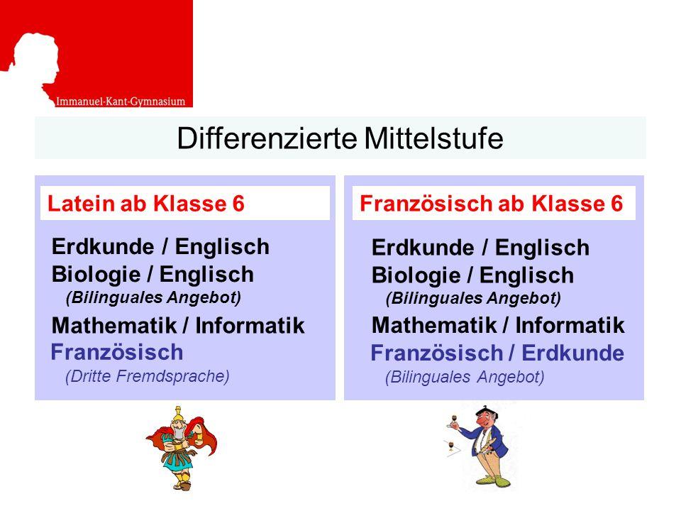 Differenzierte Mittelstufe Latein ab Klasse 6 Erdkunde / Englisch Biologie / Englisch (Bilinguales Angebot) Mathematik / Informatik Französisch (Dritt