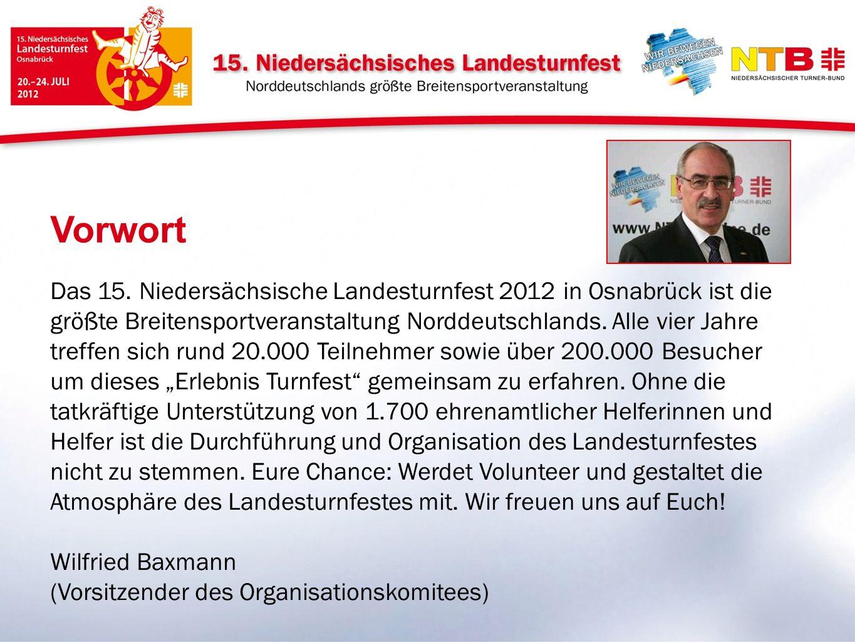 Das 15. Niedersächsische Landesturnfest 2012 in Osnabrück ist die größte Breitensportveranstaltung Norddeutschlands. Alle vier Jahre treffen sich rund
