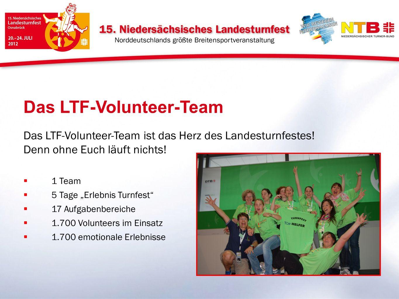 Das LTF-Volunteer-Team ist das Herz des Landesturnfestes! Denn ohne Euch läuft nichts! 1 Team 5 Tage Erlebnis Turnfest 17 Aufgabenbereiche 1.700 Volun
