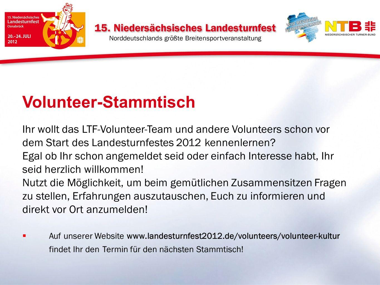 Ihr wollt das LTF-Volunteer-Team und andere Volunteers schon vor dem Start des Landesturnfestes 2012 kennenlernen? Egal ob Ihr schon angemeldet seid o
