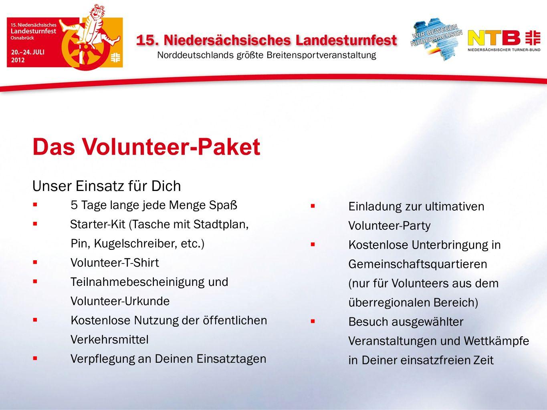 Unser Einsatz für Dich 5 Tage lange jede Menge Spaß Starter-Kit (Tasche mit Stadtplan, Pin, Kugelschreiber, etc.) Volunteer-T-Shirt Teilnahmebescheini