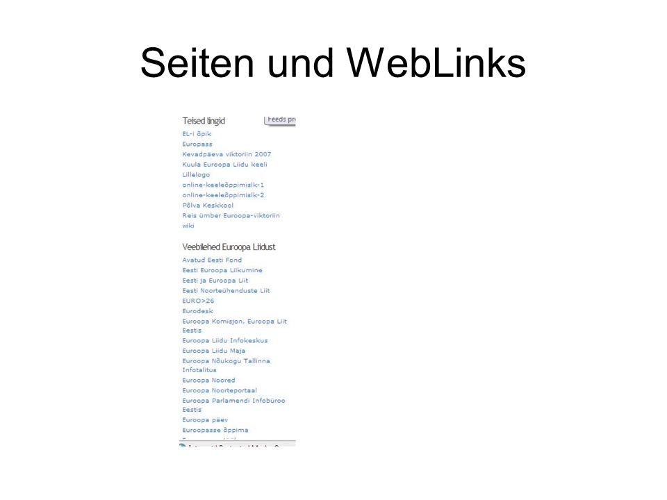 Seiten und WebLinks