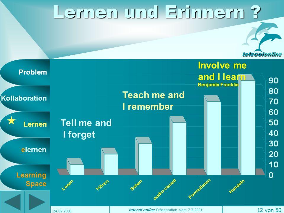 Problem Kollaboration Lernen elernen telecolonline Learning Space telecol online Präsentation vom 7.2.2001 11 von 50 24.02.2001 Wie ermöglichen wir Konstruktion .
