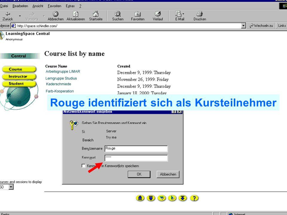 Problem Kollaboration Lernen elernen telecolonline Learning Space telecol online Präsentation vom 7.2.2001 34 von 50 24.02.2001 Sicht von Rouge via den Browser Rouge wählt seinen Kurs